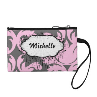 pink and deep gray large damask coin purse