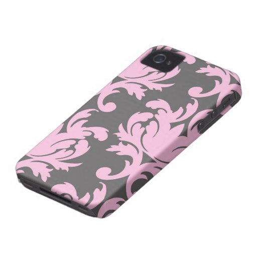 pink and deep grey large damask iPhone 4 Case-Mate case