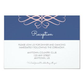 Pink and Denim Blue, Elegant Flourishes Wedding Card