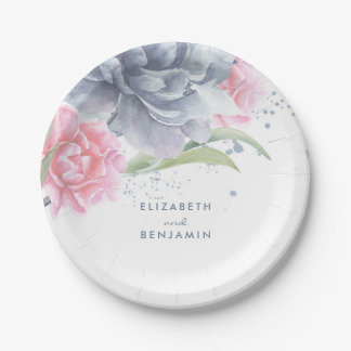 Pink and Dusty Blue Floral Watercolor Wedding Paper Plate