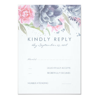 Pink and Dusty Blue Flowers Wedding RSVP Card