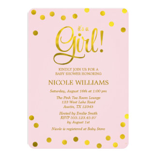 Pink and Faux Gold Confetti Girl Baby Shower 13 Cm X 18 Cm Invitation Card