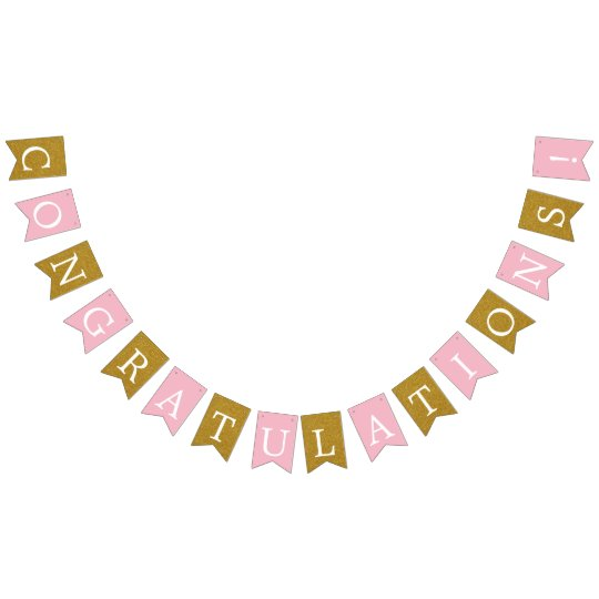 Pink and Faux Gold Congratulations Banner