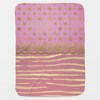 Pink and Faux Gold Foil Baby Blanket