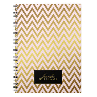 Pink and Faux Gold Foil Chevron Stripes Spiral Note Books