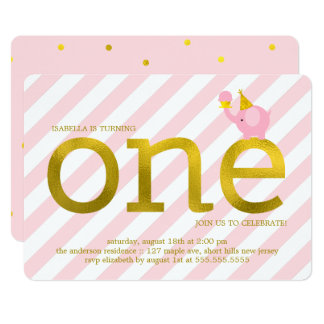Pink and Faux Gold Foil Elephant Birthday Party 13 Cm X 18 Cm Invitation Card