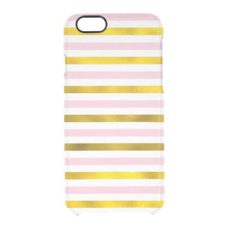 Pink and Faux Gold Foil Stripes Clear iPhone 6/6S Case