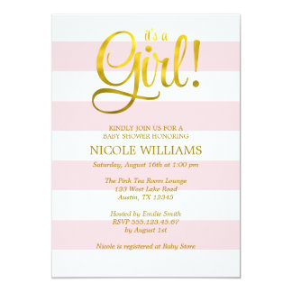 Pink and Faux Gold Stripes Girl Baby Shower 13 Cm X 18 Cm Invitation Card