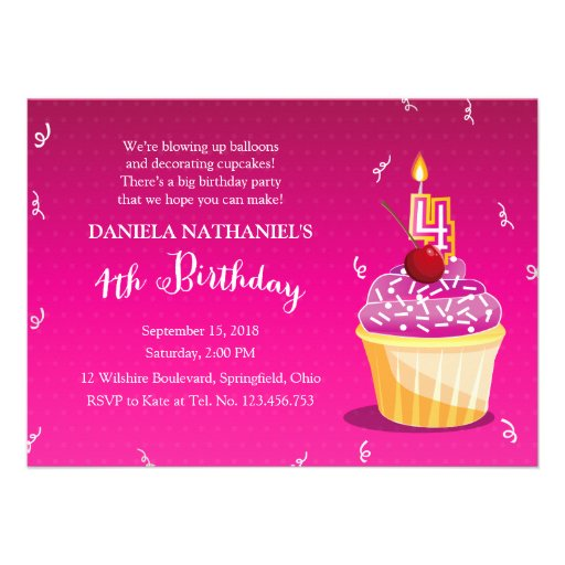 Pink and Girly 4th Birthday Cupcake Party Personalized Invitations