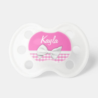 Pink and girly gingham with ribbon bow baby pacifiers
