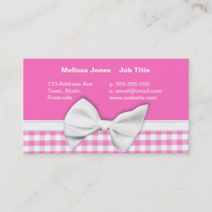 Bow business cards zazzle au pink and girly gingham with ribbon bow business card colourmoves