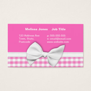 Bow business cards business card printing zazzle pink and girly gingham with ribbon bow business card colourmoves