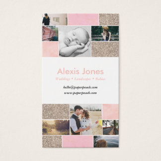 Pink and Glitter Gold Photographer Business Card