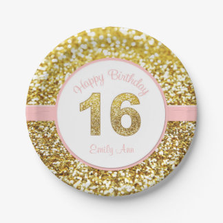 Pink and gold 16th birthday plates