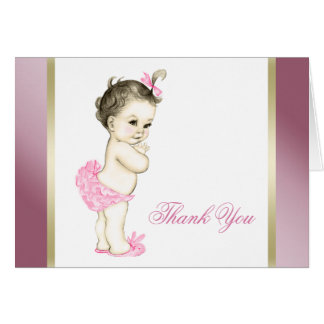 Pink and Gold Baby Girl Thank You Card