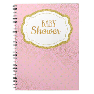 Pink and Gold Baby Shower Guest Book Notebook