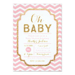 Pink And Gold Baby Shower Invitations, Baby Girl 13 Cm X 18 Cm Invitation Card