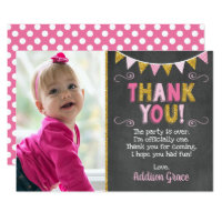 1st birthday thank you cards invitations zazzle pink and gold birthday thank you card chalkboard bookmarktalkfo Gallery