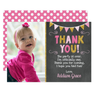 Pink and Gold Birthday Thank You Card | Chalkboard