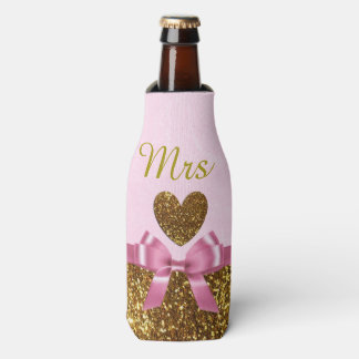 """Pink and Gold Bottle Cooler Oozie """"Mrs"""""""