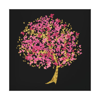 Pink and Gold Butterfly Tree Canvas Print