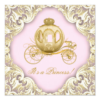 Pink and Gold Carriage Royal Princess Baby Shower 13 Cm X 13 Cm Square Invitation Card