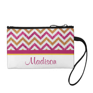 Pink and Gold Chevron Personalized Coin Clutch Change Purse
