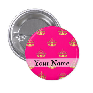 Pink and gold crown pattern pin