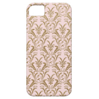 Pink and Gold Damask Pattern Barely There iPhone 5 Case