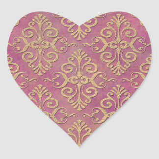 Pink and Gold Distressed Grunge Damask Heart Sticker