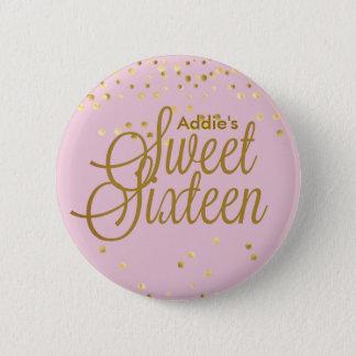 Pink and Gold Dot Sweet Sixteen Button