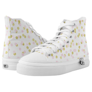 Pink and gold dotted confetti canvas sneakers