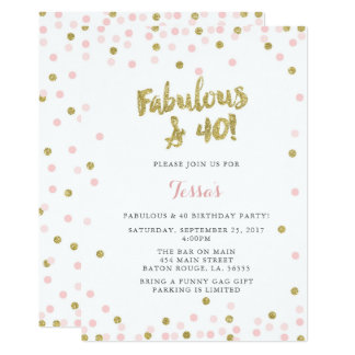 Pink and Gold Fabulous & 40 Birthday Invitations
