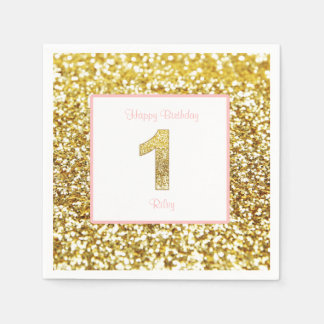 Pink and gold first birthday napkins disposable serviettes