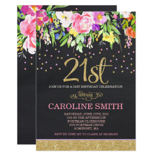 Pink and Gold Floral 21st Birthday Invitation