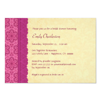 Pink and Gold Floral and Lace Bridal Shower V03C 13 Cm X 18 Cm Invitation Card