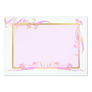 Pink and gold floral ornament 13 cm x 18 cm invitation card