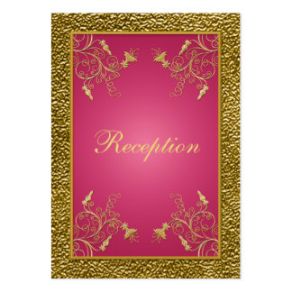 Pink and Gold Floral Reception Enclosure Card Business Card Templates