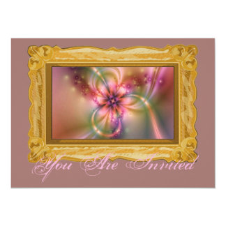 Pink And Gold Flower 14 Cm X 19 Cm Invitation Card