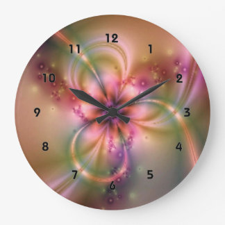 Pink And Gold Flower Large Clock
