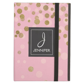 Pink and Gold Foil Elegant Monogram Case For iPad Air