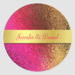 Pink and Gold Foil Like Wedding Envelope Seal Round Sticker