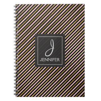 Pink and Gold Foil Monogram Stiped Notebook
