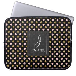 Pink and Gold Foil Polka Dot Pattern Monogram Laptop Sleeve