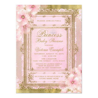 Pink and Gold Foil Princess Baby Shower 17 Cm X 22 Cm Invitation Card