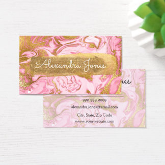 Pink and Gold Glitter and Sparkle Marble Business Card