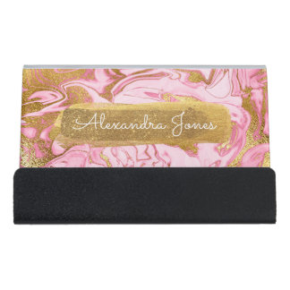 Pink and Gold Glitter and Sparkle Marble Desk Business Card Holder