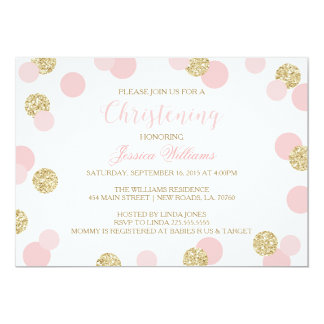 Pink and Gold Glitter Christening Invites