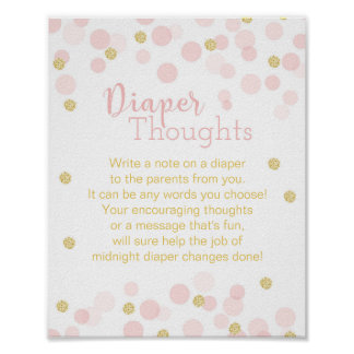"Pink and Gold Glitter Confetti ""Diaper Thoughts"" Poster"