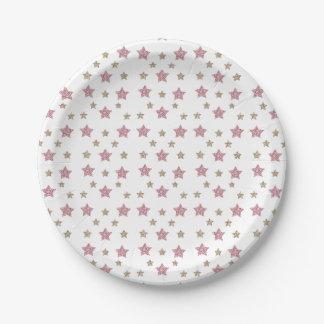 Pink and Gold Glitter Dessert Paper Plate